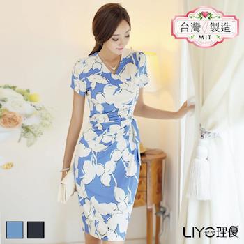 【LIYO理優】洋裝MIT印花綁帶連衣裙 626002