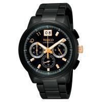WIRED 國王與你大視窗三眼計時限量腕錶 IP黑 40mm VK73-X004SD