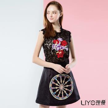 【LIYO理優】歐風洋裝蕾絲印花無袖洋裝626089