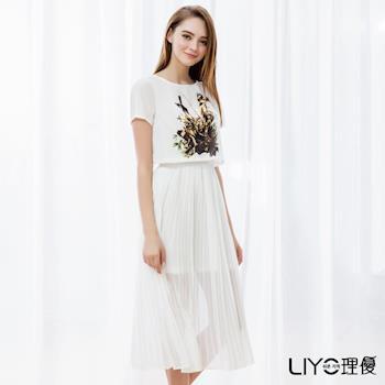 【LIYO理優 EASY ZONE】歐風洋裝兩件式細百褶洋裝626081