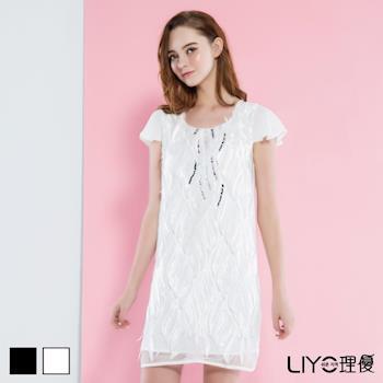 【LIYO理優】歐風洋裝V領立體蕾絲洋裝626048