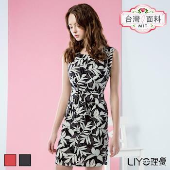 【LIYO理優】洋裝MIT印花繫腰雪紡洋裝626037