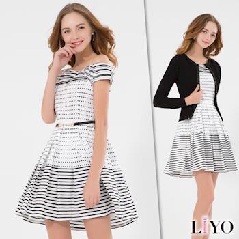 【LIYO理優】洋裝MIT一字領條紋洋裝 626009