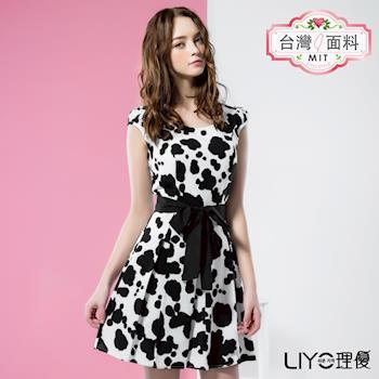 【LIYO理優】MIT黑白印花收腰洋裝 626005