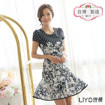 【LIYO理優】洋裝MIT點點印花拼接洋裝 626004