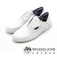 WALKING ZONE果漾YOUNG純棉帆布鞋休閒鞋 女鞋-白(另有黑/粉/藍/淺藍)