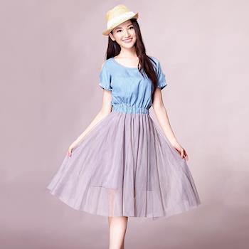 Jisen-清麗牛仔拼接網紗裙洋裝