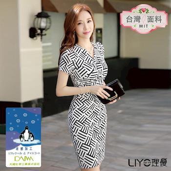 【LIYO理優】MIT涼感幾何印花合身洋裝E716004