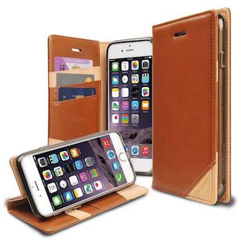 Rearth Apple iPhone 6/6s Plus (Ringke Discover) 真皮保護皮套(咖啡)贈送螢幕保護貼