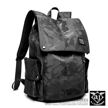 AJ.亞介 街頭潮流 酷黑迷彩 後背包 UE9006