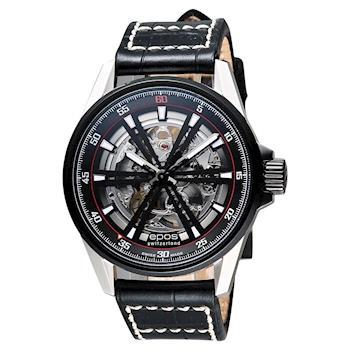 epos skeleton 經典鏤空機械腕錶 銀x黑 44mm 3425.135.35.15.24