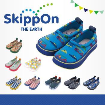 【日本SkippOn】兒童休閒機能鞋〈藍底炫車〉
