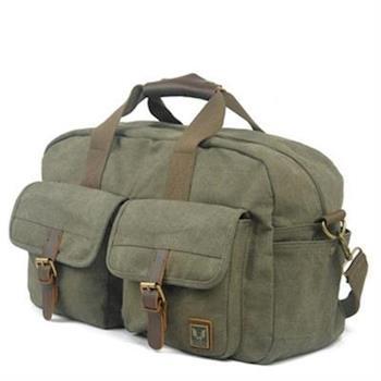【米蘭精品】手提包瘋馬皮帆布側背包運動休閒旅行行李3色73nd14