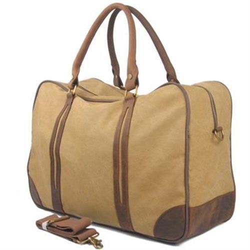【米蘭精品】手提包瘋馬皮帆布側背包歐美時尚超大旅行3色73nd33