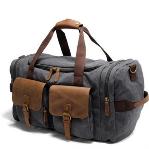【米蘭精品】手提包瘋馬皮帆布側背包歐美時尚大容量行李3色73nd44