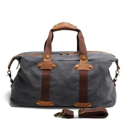 【米蘭精品】手提包瘋馬皮帆布側背包歐美復古大容量旅行3色73nd61