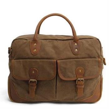 【米蘭精品】手提包瘋馬皮帆布側背包英倫時尚商務公文4色73nd62