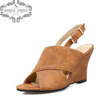 丁果時尚 - 大尺碼女鞋33~43-時尚交叉魚嘴楔形鞋厚底涼鞋*3色