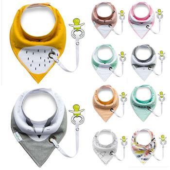 嬰兒奶嘴環三角巾圍兜寶寶雙層口水巾-4入組