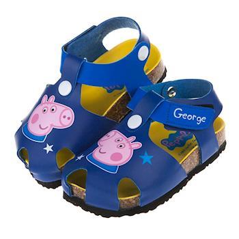 粉紅豬小妹喬治豬藍色星星護趾歐風氣墊涼鞋(14~18公分)