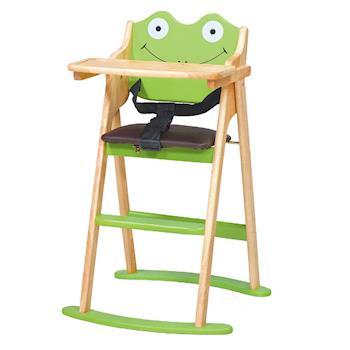 【顛覆設計】卡哇伊小青蛙折合兒童餐椅(全實木)