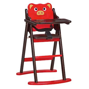【顛覆設計】卡哇伊小豬折合兒童餐椅(全實木)