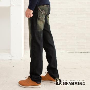 【Dreamming】MIT波點繡線刷色伸縮中直筒牛仔褲(黑色)