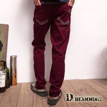 【Dreamming】韓版潮流條紋棉質休閒長褲(棗紅)