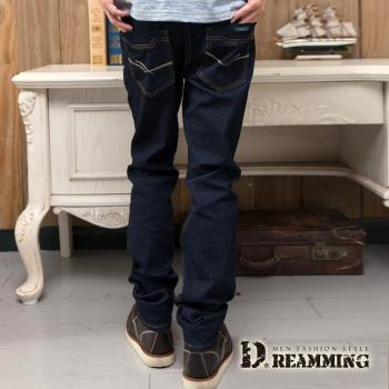 【Dreamming】簡約雙線原色伸縮小直筒牛仔褲(深藍)