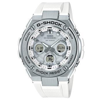 【CASIO】G-SHOCK 強悍太陽能銀框三眼錶-白 (GST-S310-7A )