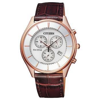 CITIZEN星辰  Eco-Drive 光動能計時男錶-玫瑰金框x咖啡/40mm(AT2362-02A)