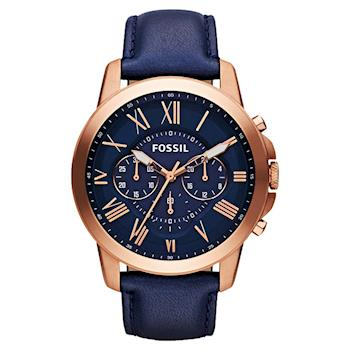 FOSSIL 旗艦玩家復刻計時手錶 藍x玫塊金 44mm FS4835