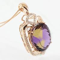 典藏富玉極品頂級天然紫黃晶18K厚金項鍊