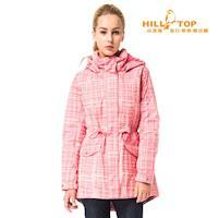 【hilltop山頂鳥】女款防水蓄熱羽絨外套F22FW6玫紅底/粉紅印花