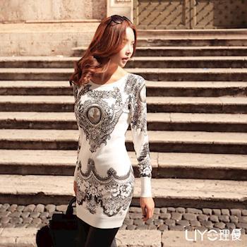 【LIYO理優】圖騰印花長板針織上衣E637019