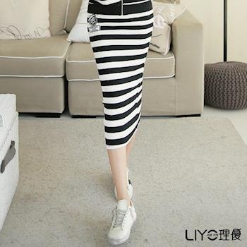 【LIYO理優】運動風條紋包臀長裙L713002