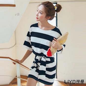 【LIYO理優】海軍風條紋套裝2件組L726003