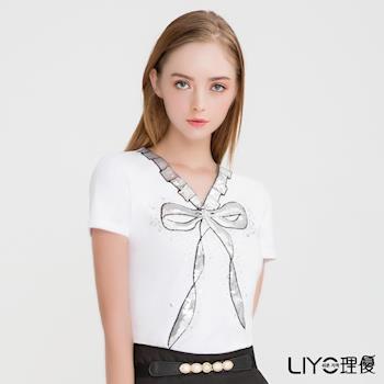 【LIYO理優】蝴蝶結印花V領T恤O722002