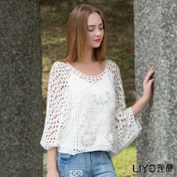 【LIYO理優】蝙蝠袖縷空花邊罩衫O725004