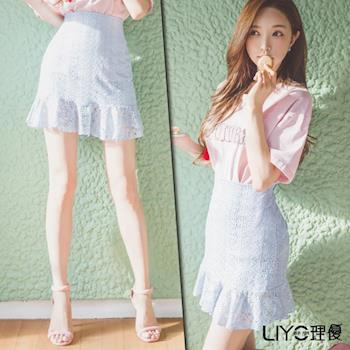 【LIYO理優】荷葉拼接魚尾短裙L723008