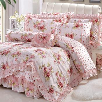 HOYACASA田園花語 加大精梳純棉蕾絲八件式床罩組-型(網)