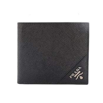 PRADA 銀字logo 防刮牛皮 二折 8卡 短夾(黑色) 2M0513 QME F0002