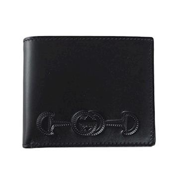 GUCCI 馬銜logo圖騰 壓紋 短夾 展示品(黑色) 295596 BGHON 1000
