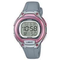 【CASIO】 簡約造型超實用數位休閒錶-粉紅框x灰 (LW-203-8A)