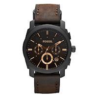 FOSSIL 星際時空三環計時運動腕錶 咖啡x金時標 45mm FS4656