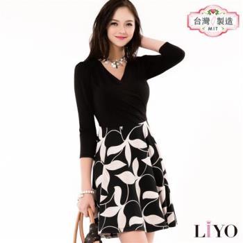 【LIYO理優】MIT修身V領印花洋裝E636008