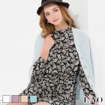 LIYO理優  素色羅紋針織外套(淺橘/淺藍/淺紫/白)