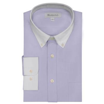 [MURANO]馬卡龍色系白領撞色長袖襯衫-淺紫色
