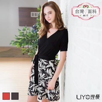 【LIYO理優】洋裝MIT假兩件式印花洋裝626038