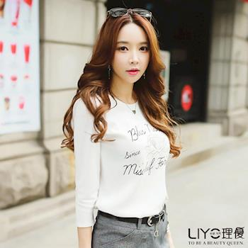【LIYO理優】刺繡七分袖棉T恤E632006
